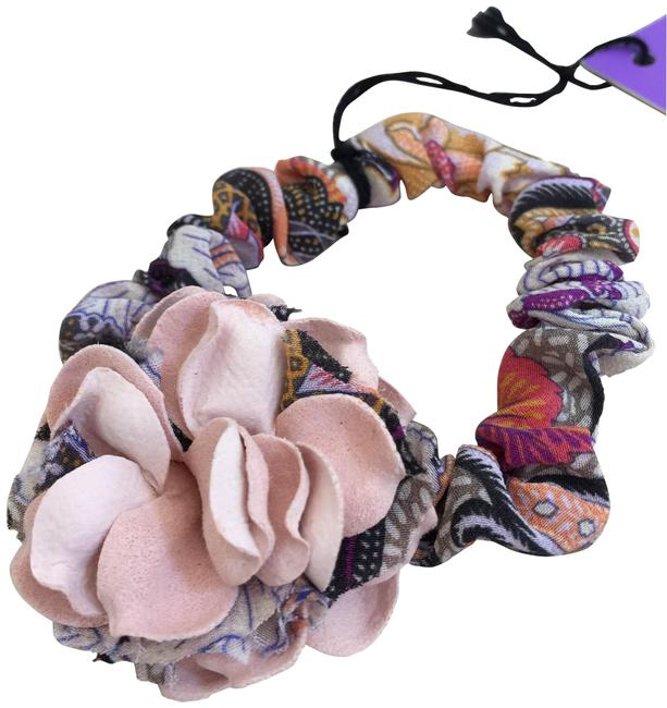 Item - Peach Multi Milano Made In Italy Elastic Band Ponytail Floral Fabric New Hair Accessory