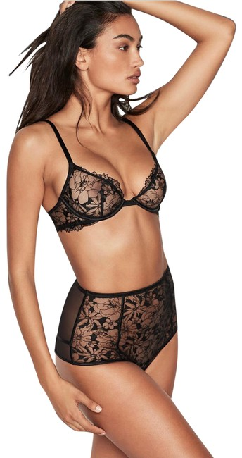 Item - Black Floral Vs Luxe Lingerie High Waist Lace Embroidered Panty Shorts Size 4 (S, 27)
