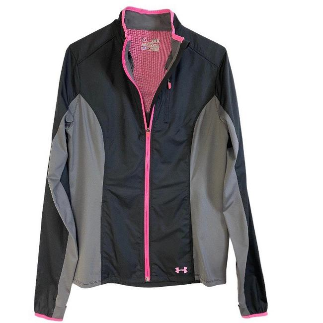 Item - Grey & Pink Full Zip Cold Gear Semi Fitted Activewear Outerwear Size 8 (M)