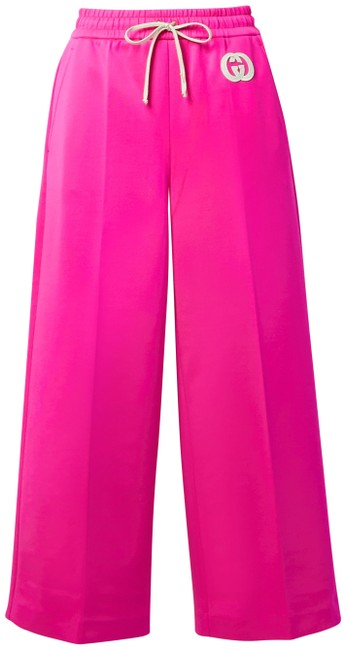 Item - Bright Pink Jersey Cropped Appliquéd Neon Stretch-jersey Wide-leg Track Pants Size 4 (S, 27)