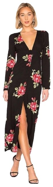 Item - Buttoned Up Floral Long Sleeve Maxi Dress S Black Top
