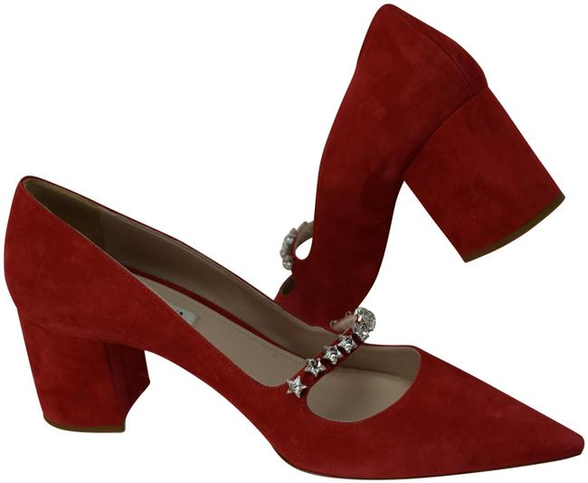 Item - Red 5i415c Suede Crystals Jewelled Mary Jane Pointed Pumps Size EU 38.5 (Approx. US 8.5) Regular (M, B)