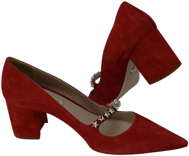 Item - Red 5i415c Suede Crystals Jewelled Mary Jane Pointed Pumps Size EU 41 (Approx. US 11) Regular (M, B)