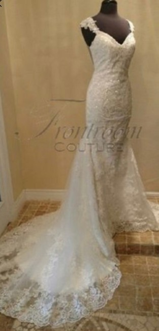 Frontroom Couture White Ivory Lace Cierra | Sweetheart Low Scoop Illusion Back Chapel Train Formal Wedding Dress Size 6 (S) Frontroom Couture White Ivory Lace Cierra | Sweetheart Low Scoop Illusion Back Chapel Train Formal Wedding Dress Size 6 (S) Image 1