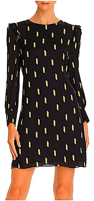 Item - Black/Neon Yellow with Tag Beatrix Long Sleeve Shift Short Night Out Dress Size 0 (XS)