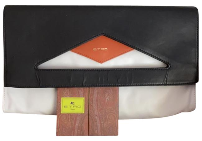 Item - Limited Edition Fold Over Black White and Orange Calfskin Leather Clutch