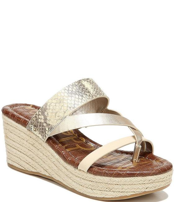 Item - Gold Raleigh Snake Print Mettalic Leather Jute Wrapped Sandals Wedges Size US 8 Regular (M, B)