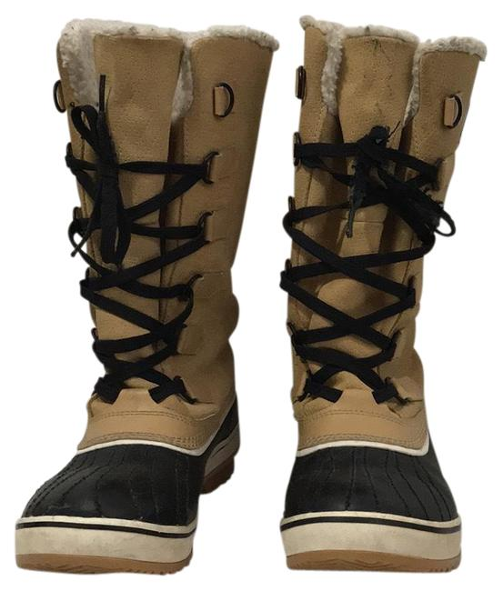 Item - Tan and Black Tall Fleece-lined Boots/Booties Size US 10 Regular (M, B)