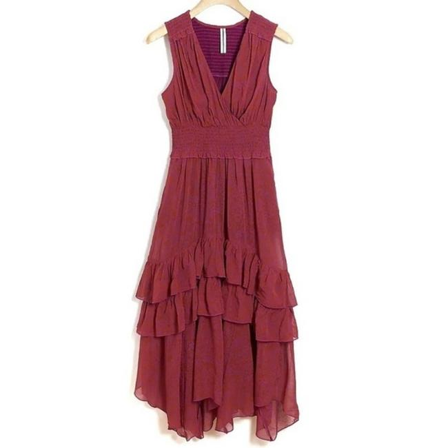 Item - Pink and Orange Marcella Tiered Mid-length Cocktail Dress Size Petite 12 (L)