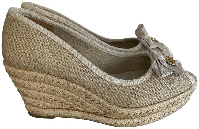 Item - Khaki/Tan Fabric Open Toe Espadrille Platform Wedges Size US 6.5 Regular (M, B)