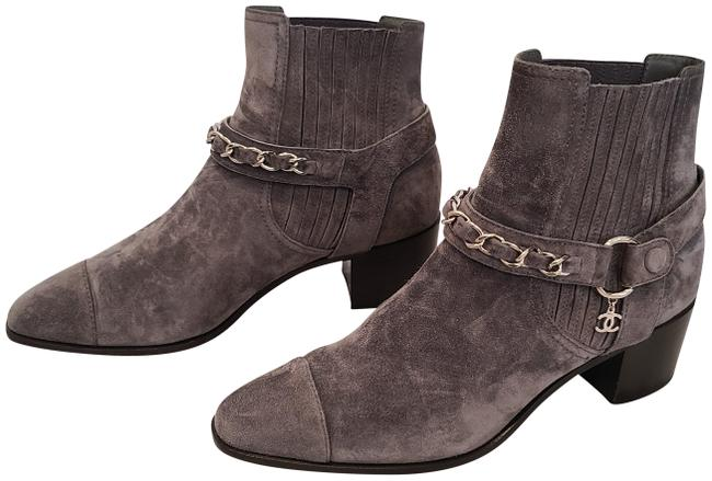 Chanel Gray Suede Calfskin with Silver Chains Hanging Cc Boots/Booties Size EU 39.5 (Approx. US 9.5) Regular (M, B) Chanel Gray Suede Calfskin with Silver Chains Hanging Cc Boots/Booties Size EU 39.5 (Approx. US 9.5) Regular (M, B) Image 1