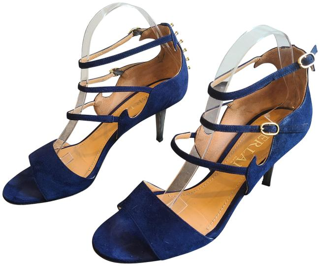 Item - Blue Camoscio Navy Suede Strappy Sandal with Gold Studding At Back Pumps Size EU 40 (Approx. US 10) Regular (M, B)