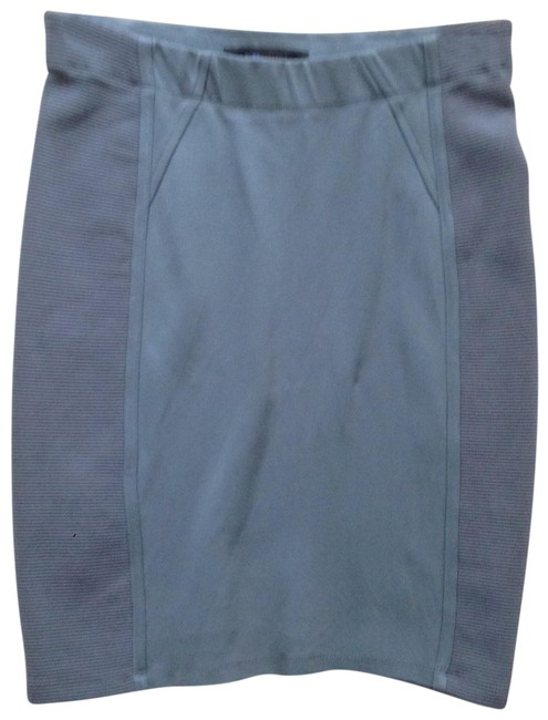 Item - Gray Stretch Pencil Ribbed Trim Skirt Size 4 (S, 27)