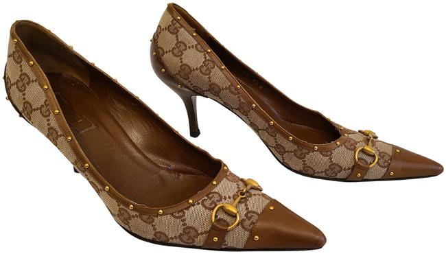 Item - Brown and Beige Vintage Monogram Canvas & Leather with Gold Studs Pumps Size US 9.5 Regular (M, B)