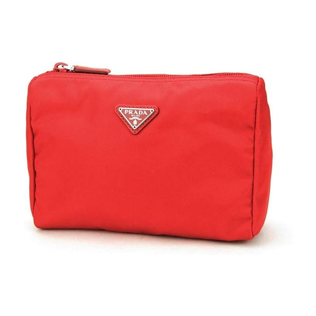 Item - Rosso Red Tessuto Nylon Triangle Logo Toiletry Case 1na011 Cosmetic Bag