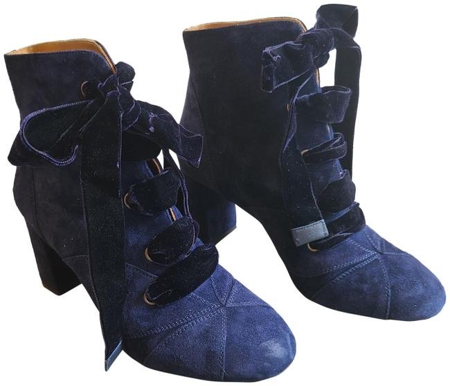 Item - Blue Graphic Leaves Lace-up Suede Ankle with Black Velvet Laces Boots/Booties Size EU 39.5 (Approx. US 9.5) Regular (M, B)