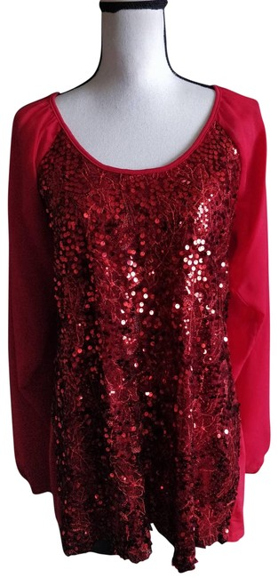 Item - Red L Sequin Chiffon Tunic Dress Blouse Size 12 (L)
