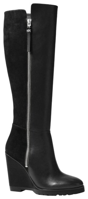 Item - Black Clara Wedge Tall Leather / Suede Boots/Booties Boots/Booties Size US 8.5 Regular (M, B)