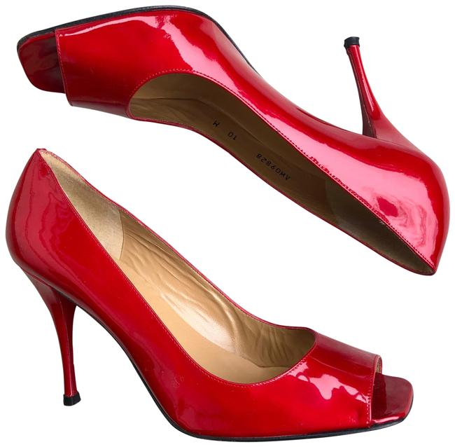 Item - Red Open Toe Patent Leather Pumps Size US 10 Regular (M, B)