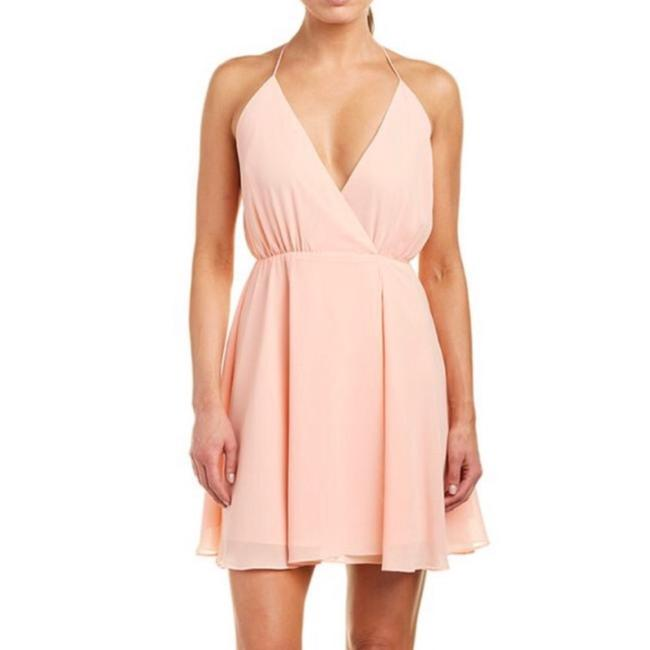 Item - Pink Wrap Effect Short Casual Dress Size 4 (S)