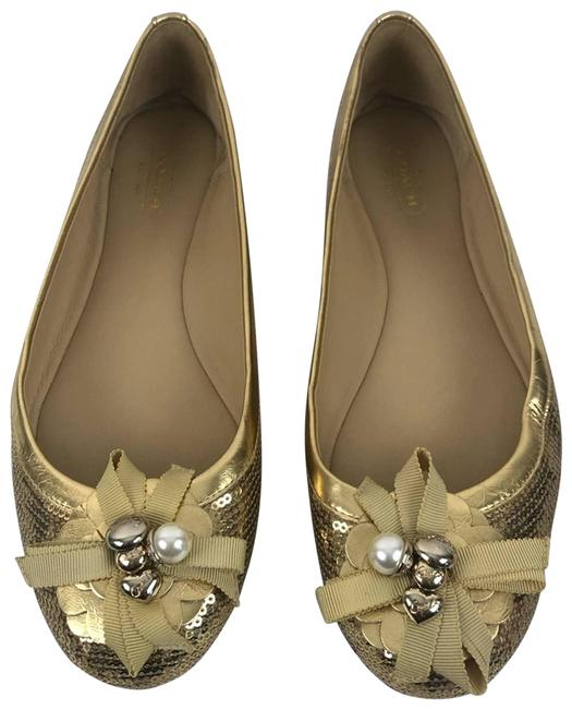 Item - Gold Abagail Sequined Charm Ballet Flats Size US 8 Regular (M, B)