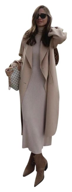 Item - Beige Knit Ecru High Neck Sleeve Long Casual Maxi Dress Size 4 (S)