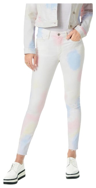 Item - White Pink The Charlie High Rise Skinny Crop Tie Dye Capri/Cropped Jeans Size 10 (M, 31)
