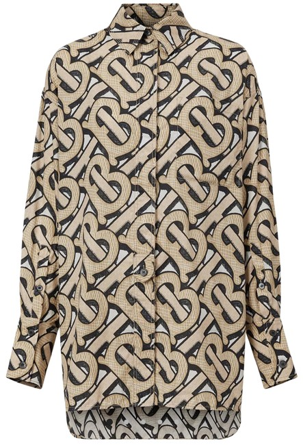 Burberry Dark Beige Monogram Print Cotton Poplin Oversized Shirt Blouse Size 0 (XS) Burberry Dark Beige Monogram Print Cotton Poplin Oversized Shirt Blouse Size 0 (XS) Image 1