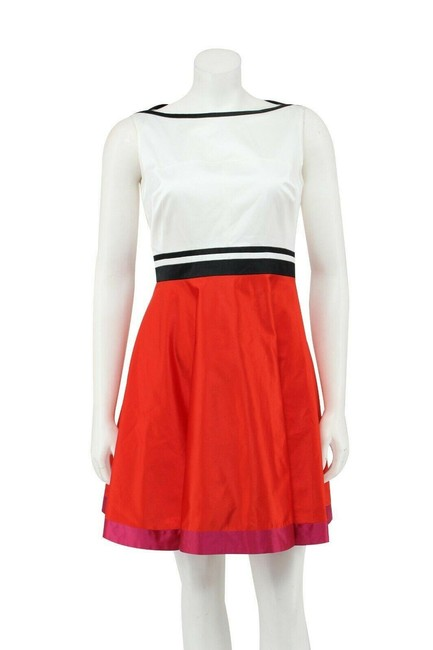 Karen Millen Red And White Color Block Sateen Fit and Flare Short Work/Office Dress Size 6 (S) Karen Millen Red And White Color Block Sateen Fit and Flare Short Work/Office Dress Size 6 (S) Image 1