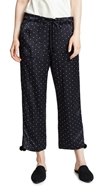 Item - Navy and White Fiore Satin Ankle Pants Size 4 (S, 27)