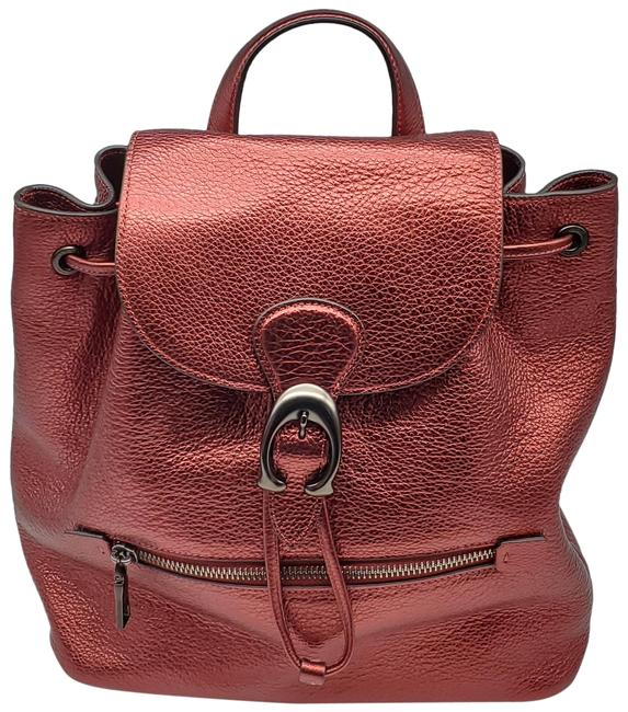 Item - Evie Metallic Clay Red Leather Backpack