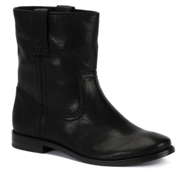 Item - Black Anna Shortie Pull On Leather Ankle Boots/Booties Size US 7 Regular (M, B)