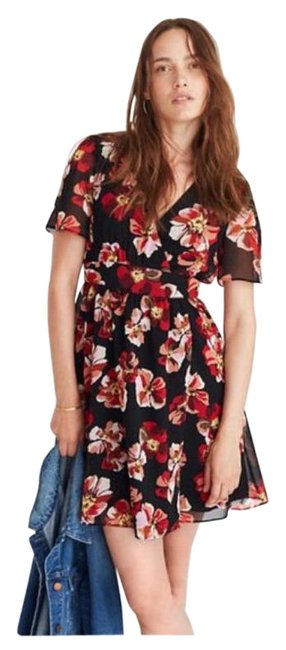 Item - French Rose (Black/Red) Tulip-sleeve Mini Short Casual Dress Size 2 (XS)