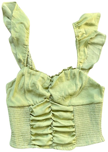Item - Green Silky Rouched Crop Tank Blouse Size 2 (XS)