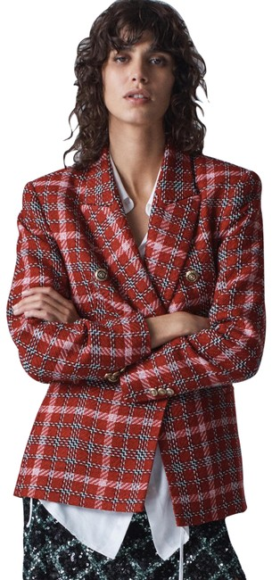Item - Red L Tweed Double-breasted Check Buttons New Blazer Size 12 (L)