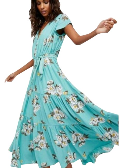 Free People Aqua Light Blue-green All I Got Floral Botanic Combo Long Casual Maxi Dress Size 2 (XS) Free People Aqua Light Blue-green All I Got Floral Botanic Combo Long Casual Maxi Dress Size 2 (XS) Image 1