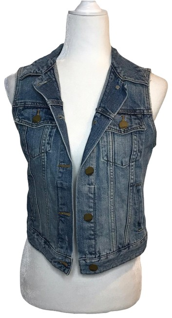 Item - Blue Cropped Distressed Medium Wash Vest Size 2 (XS)