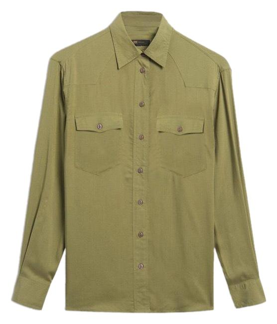 Item - Olive Green Button-down Top Size 6 (S)