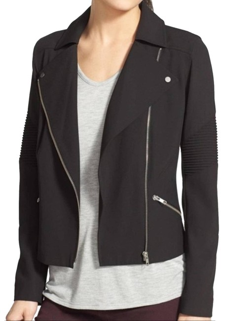 Item - Black Asymmetrical Zip Moto Jacket Size 6 (S)