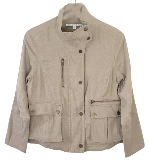 Item - Tan Zipper Utility Jacket Size 6 (S)