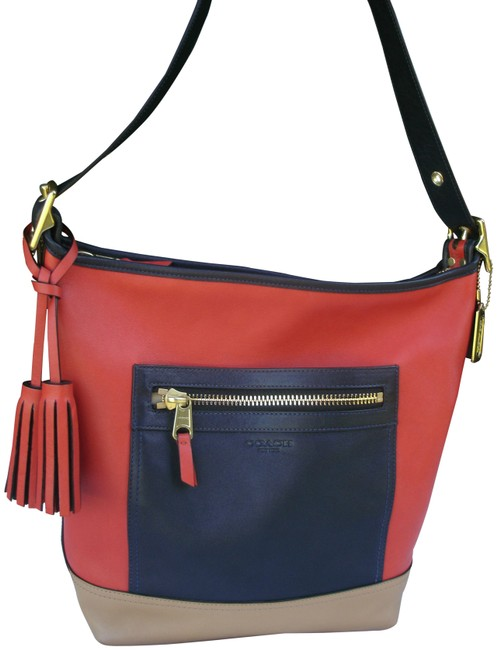 Item - Duffle Legacy Colorblock Convertible Red Navy Blue and Tan Leather Shoulder Bag