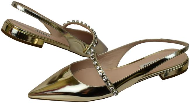 Item - Gold 5f388c Leather Jewelled Mary Jane Pointed Toe Slingback Flats Size EU 40 (Approx. US 10) Regular (M, B)