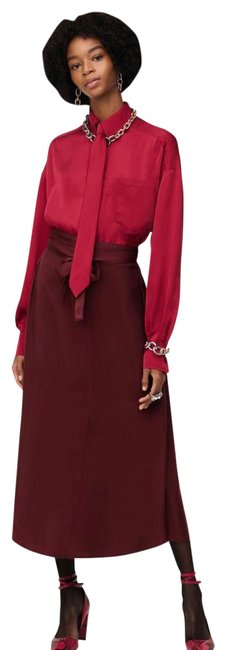 Item - Burgundy Limited Edition Contrasting Long Casual Maxi Dress Size 0 (XS)