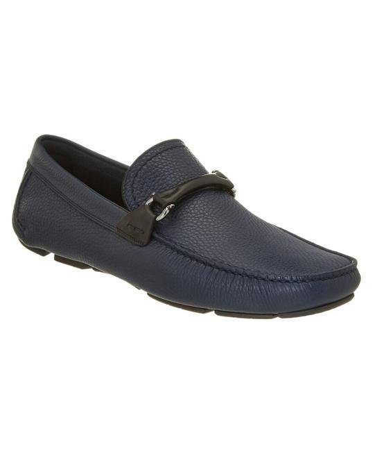 Item - Blue Granprix Navy Leather Gancini Bit Driving Loafers Us 8 D Shoes
