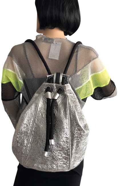 Item - Metallic Silver Polyester Backpack