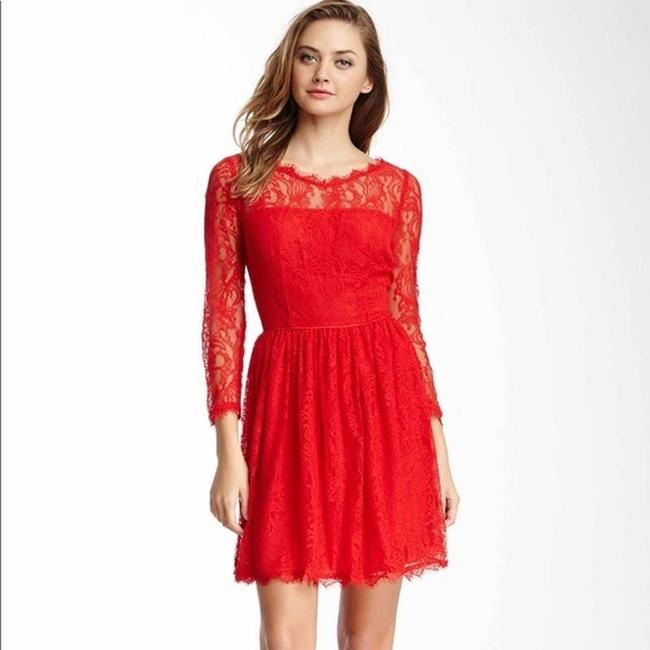 Item - Red Lace Long Sleeve Short Formal Date Cocktail Dress Size 4 (S)