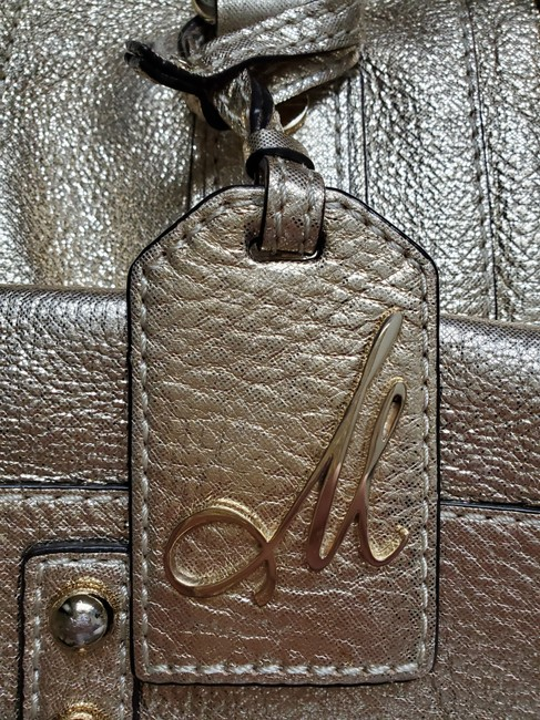 MILLY With Optional Shoulder Strap Gold Leather Satchel MILLY With Optional Shoulder Strap Gold Leather Satchel Image 4