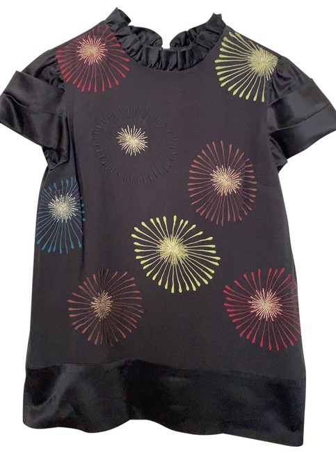 Item - Black Silk/Satin Embroidered Blouse Size 4 (S)