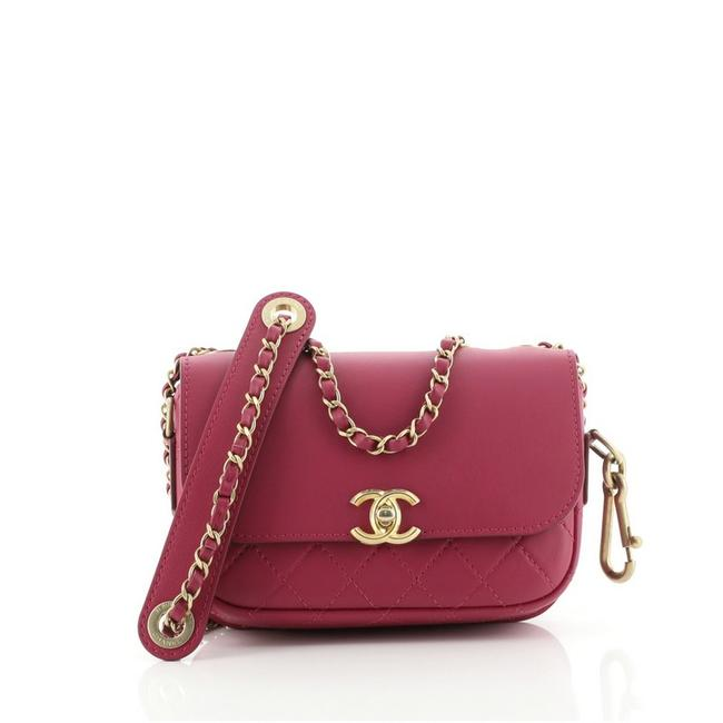 Item - Classic Flap Cc with Coin Purse Quilted Calfskin Pink Leather Cross Body Bag