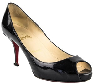 Christian Louboutin Peep Toes Patent Leather Black Pumps